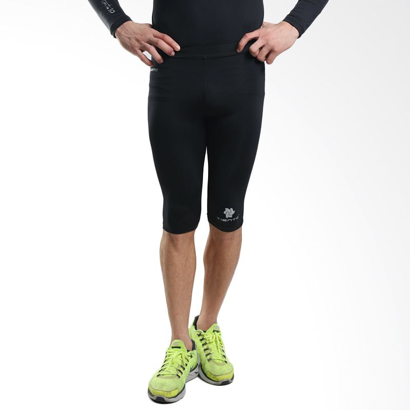 harga Tiento Baselayer Original Rash Guard Compression  Manset Olahraga Half Pants Black Silver Blibli.com