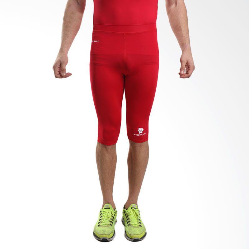 Tiento Baselayer  Rash Guard Compression Red White Half Pants Original