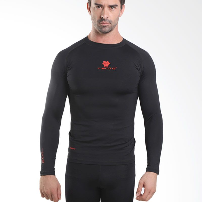 Tiento Baselayer Rash Guard Compression Black Red Long Sleeve Original