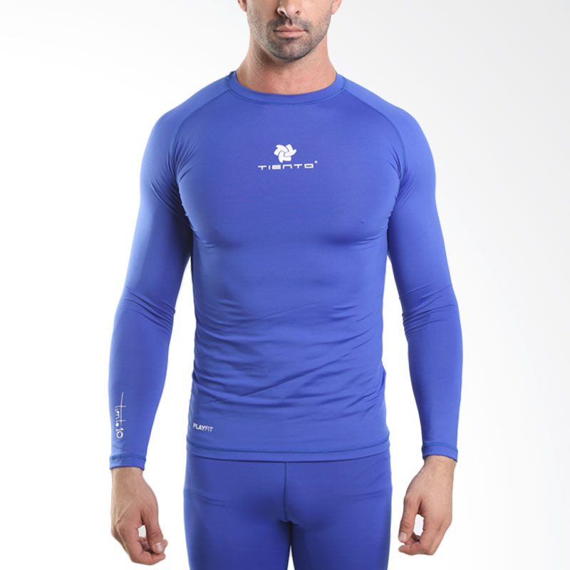 Tiento Baselayer  Rash Guard Compression Blue White Long Sleeve Original