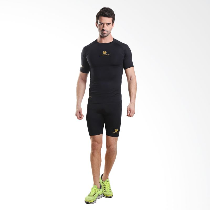Tiento Baselayer  Rash Guard Compression Black Gold Short Sleeve Original