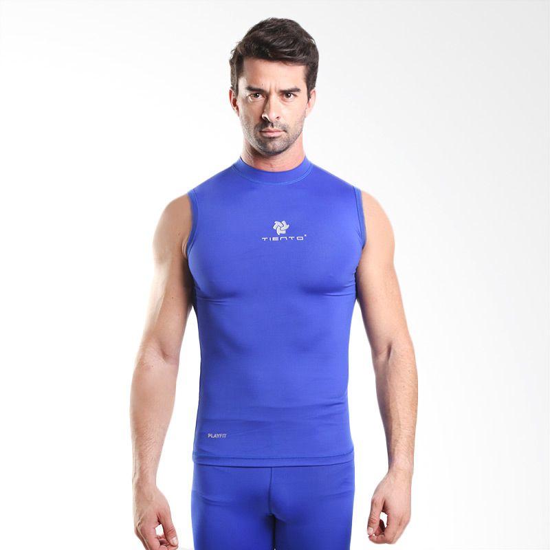 harga Tiento Baselayer Original Rash Guard Compression Sleeve Less Blue White Manset Olahraga Blibli.com
