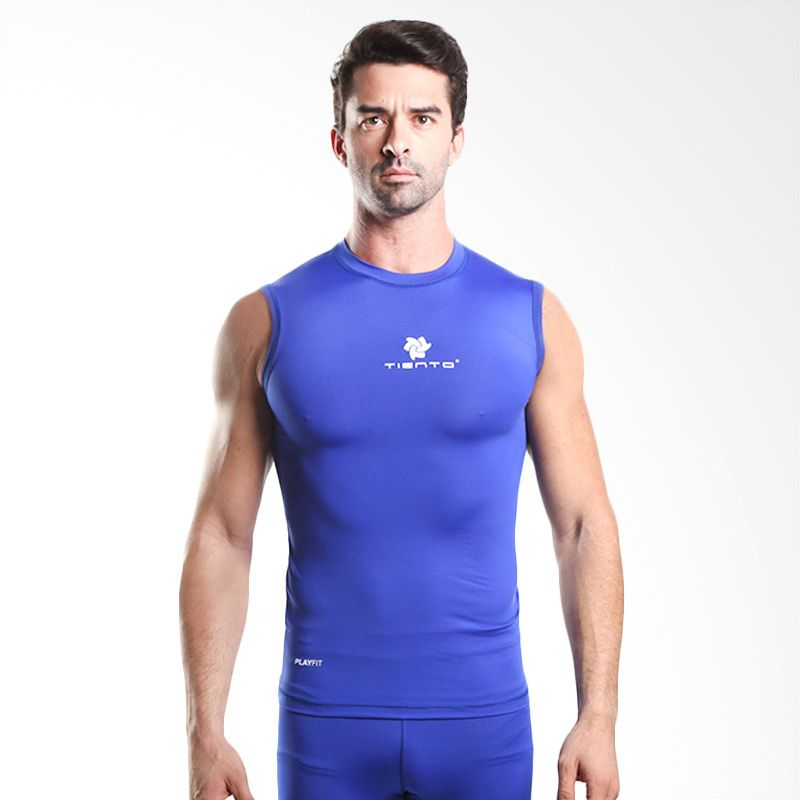 Tiento Baselayer Original Rash Guard Compression Sleeve Less Blue White Manset Olahraga