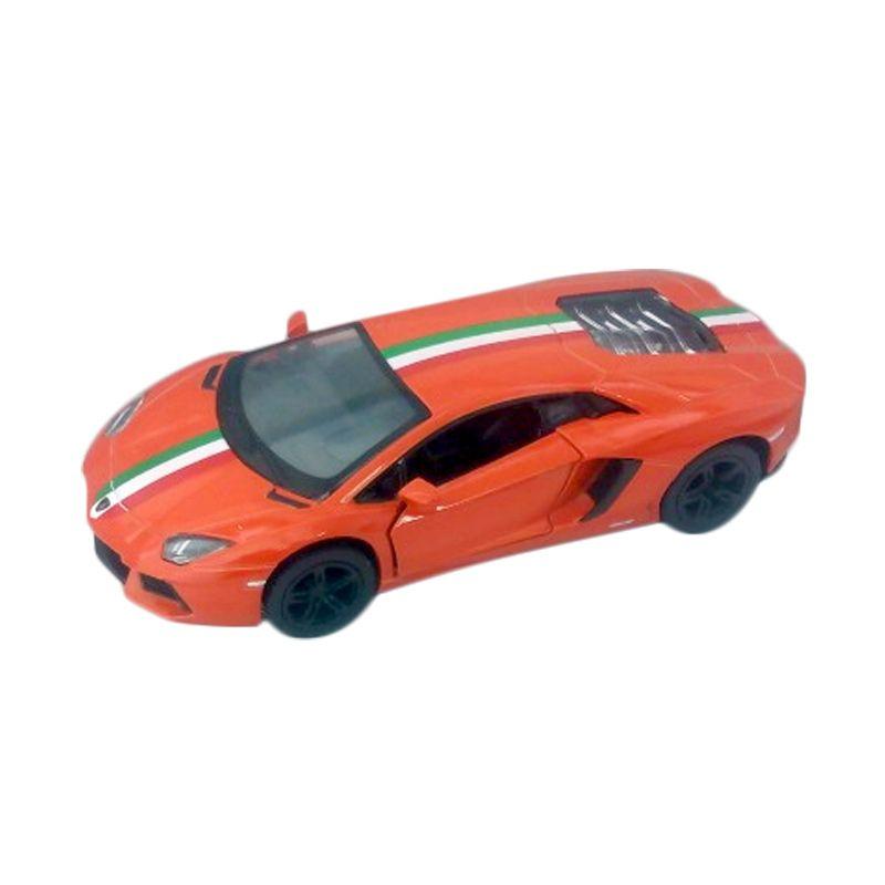 KINSMART Lamborghini Aventador LP 700-4 with Italy Flag Orange Diecast