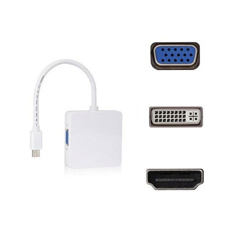 ZIACOM 3 in 1 Mini Display Port to HDMI/DVI/VGA Adapter