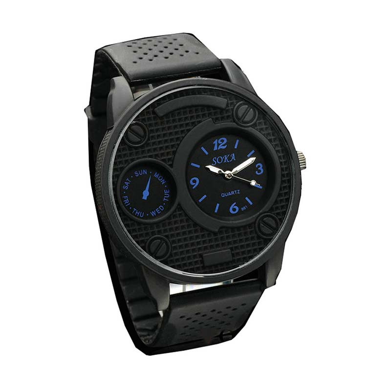 Ormano Black G Silicone Watch Jam Tangan Pria - Hitam-Biru