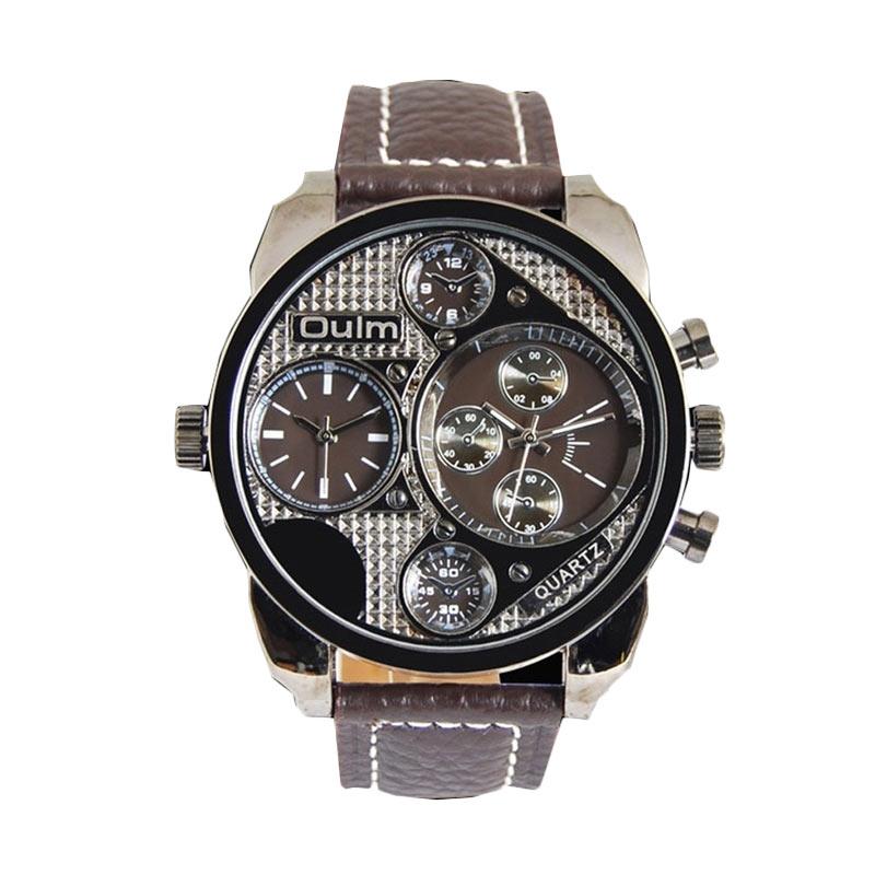 Ormano OULM Grand Dual Time L-Watch Jam Tangan Pria - Coklat Hitam