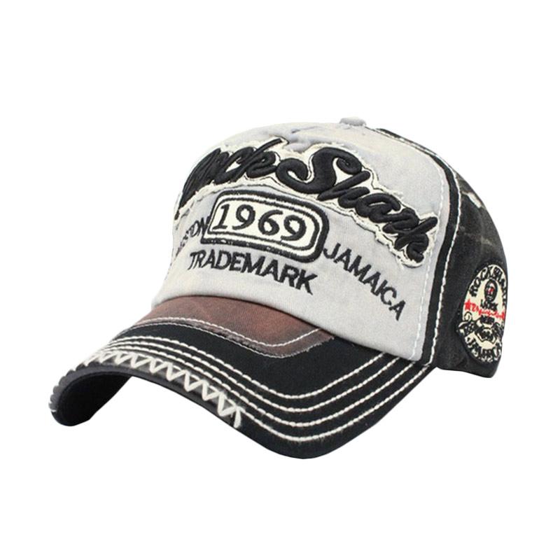 ... harga Ormano Topi Baseball Snapback Cap Korean Hip Hop Rock Shank Cap Hitam Putih Abu