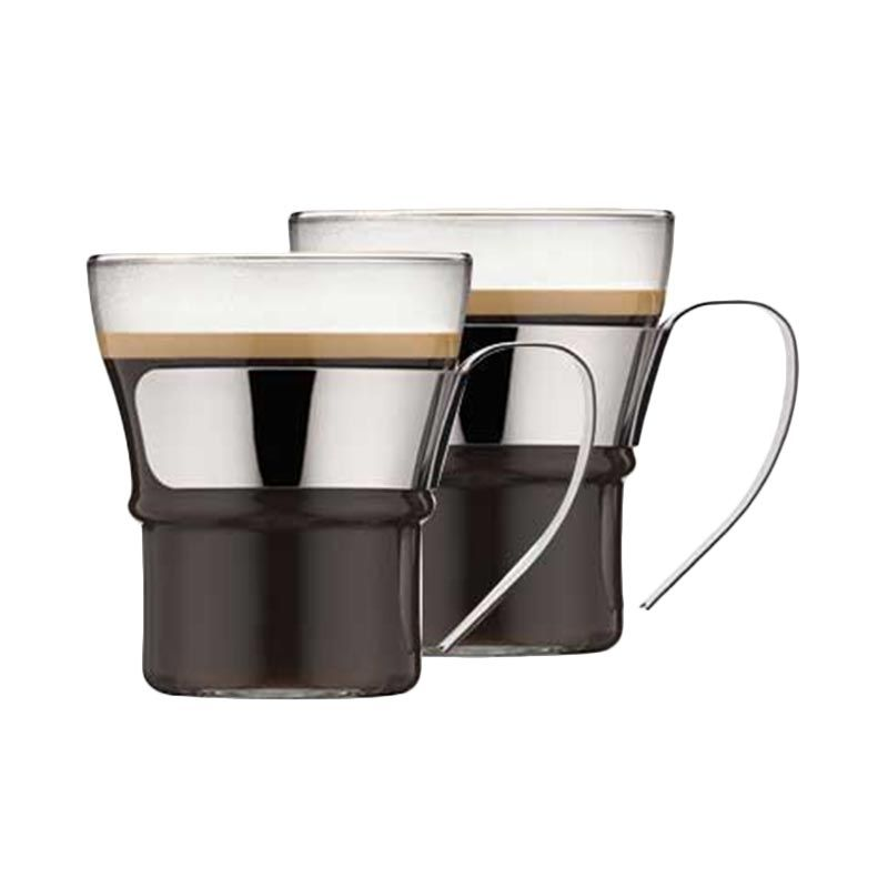 Bodum Assam 4552-16 with Steel Handle Gelas [2 Pcs/300mL]