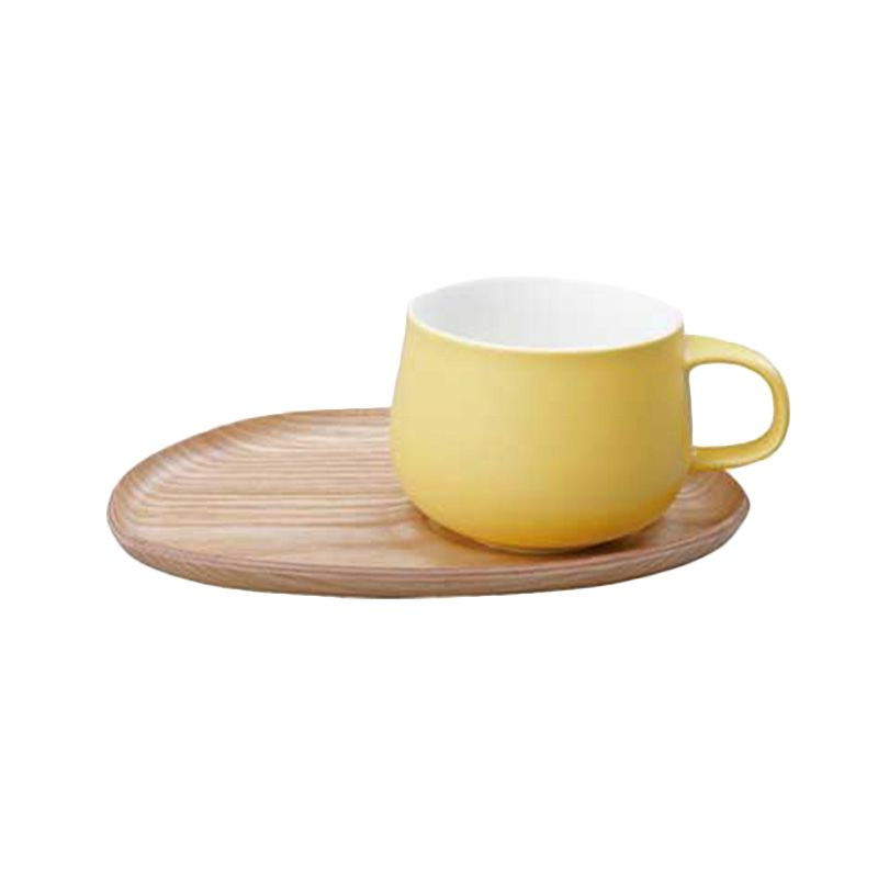 Kinto Fika Cafe Lunch Wood 22586 Yellow Mug [330 gr/250 mL]