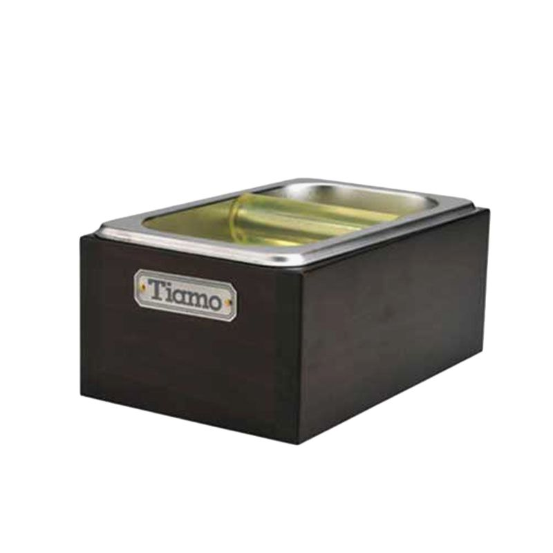 Tiamo BC2406 Black Knock Box with Wooden Case