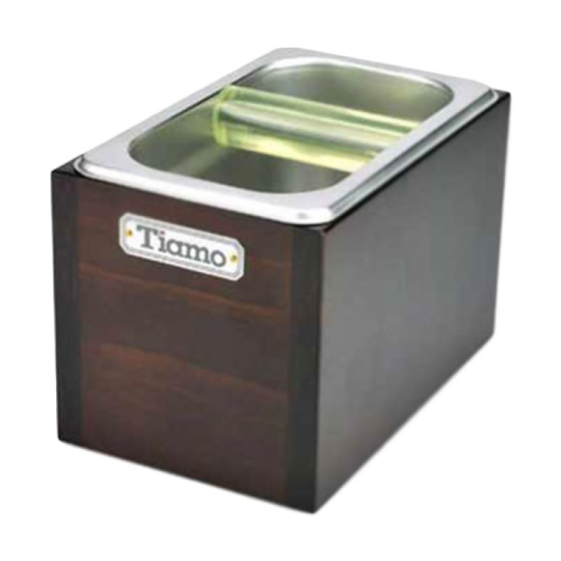 Tiamo BC2407 Dark Brown Knock Box with Wooden Case