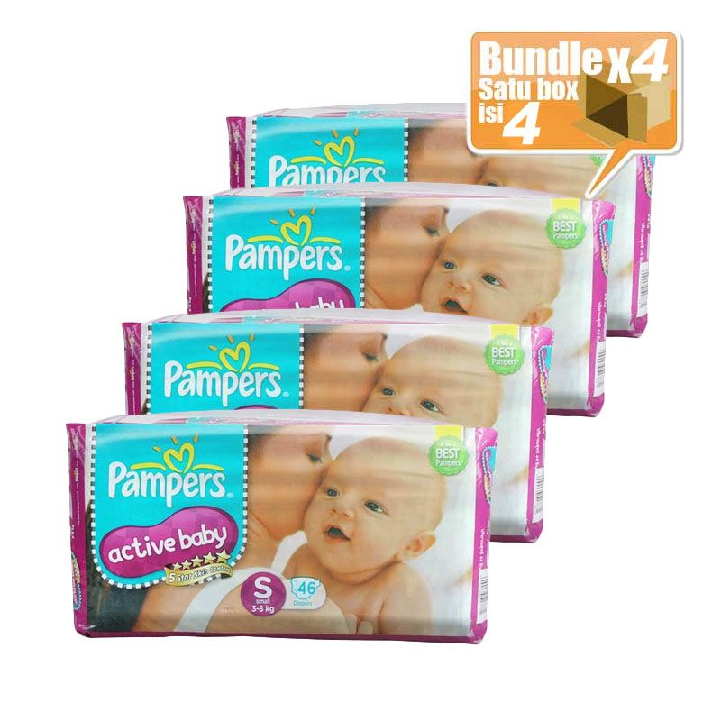 Pampers Popok Active Baby Taped S 46 (Karton isi 4 pcs)