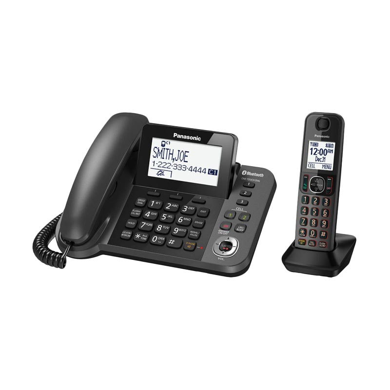 harga Panasonic KX-TGF380 Link2Cell Bluetooth Corded And Cordless Phone with Answering Machine Blibli.com