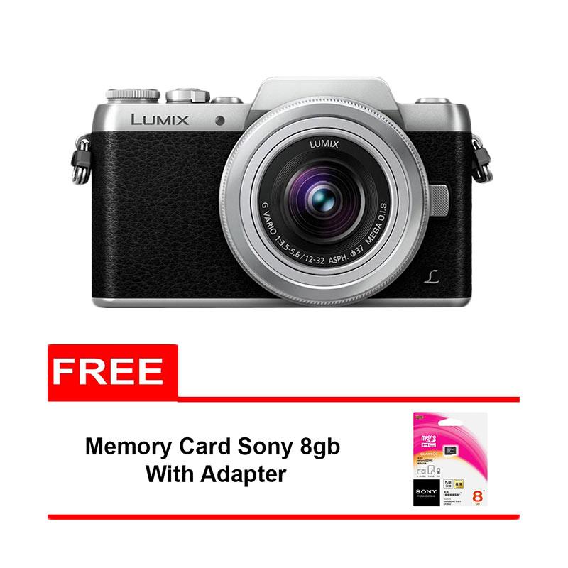 Panasonic Lumix DMC GF8 Kit 12-32mm Kamera Mirrorless - Silver [16 MP] + Free Memory Card Sony 8 GB