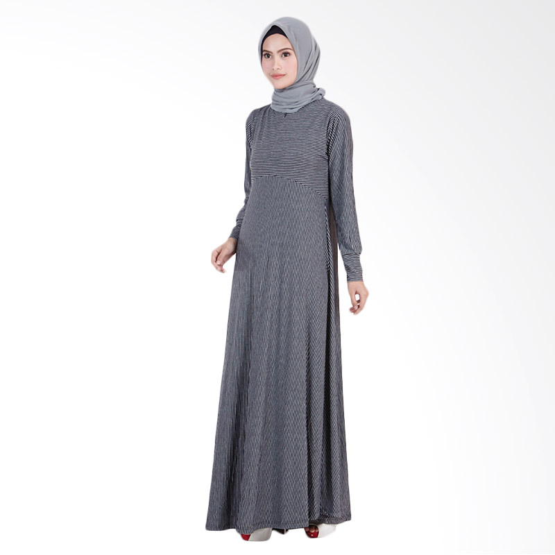 Paradise Line Maxi Long Dress - Black Grey