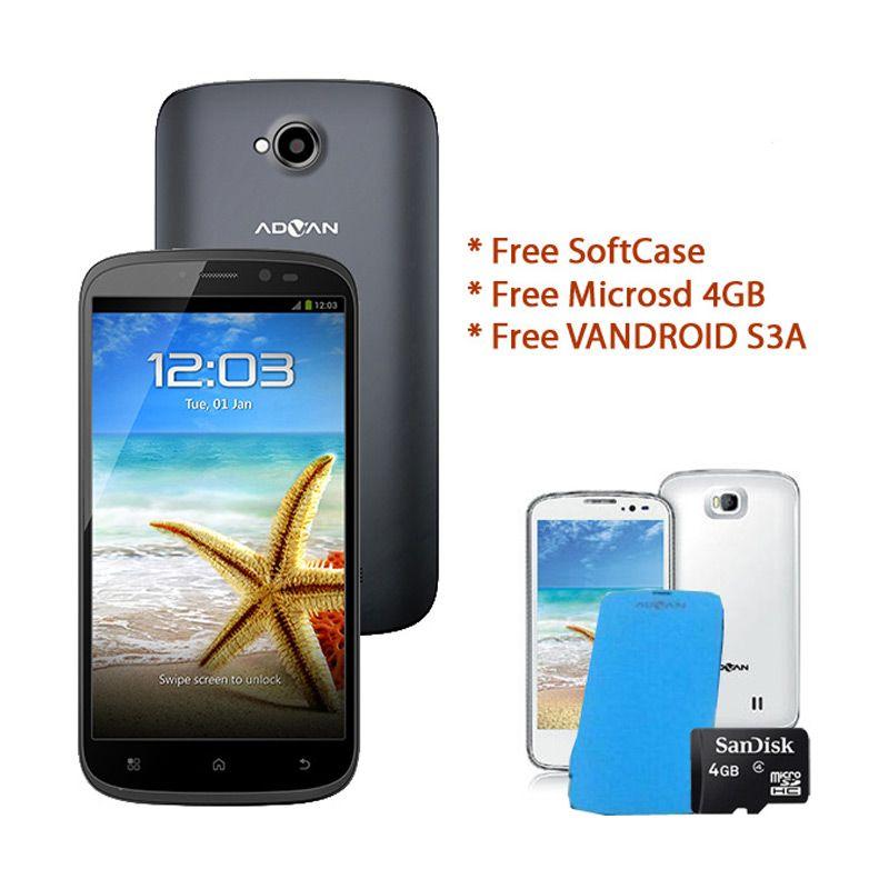 Advan Vandroid S5G Gray Smartphone + Casing dan lainnya