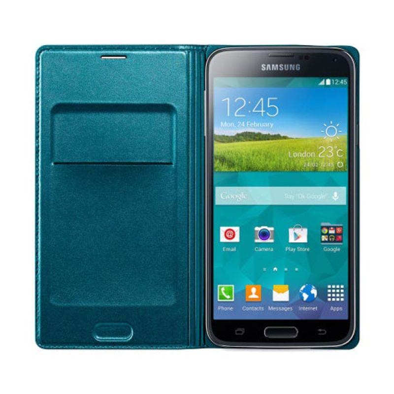 Samsung Flip Wallet For Galaxy S5 Blue Green