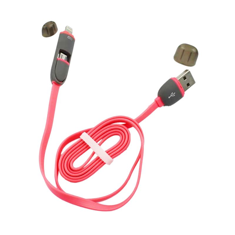 USB Charger Speed 2 in 1 Pink Kabel Data [1 m]