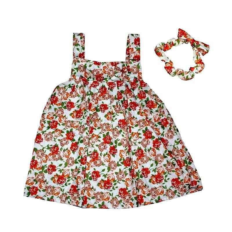 Pesona Little Flower Dress with Headband - Orange