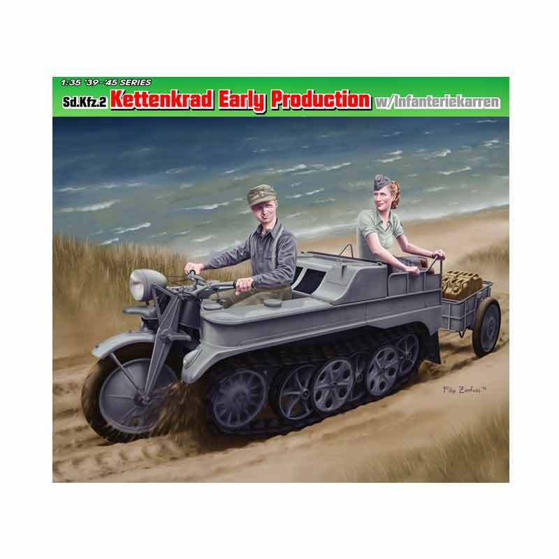 Dragon Sd.Kfz.2 Kettenkrad Early Production w/Infanteriekarren - Model Kit