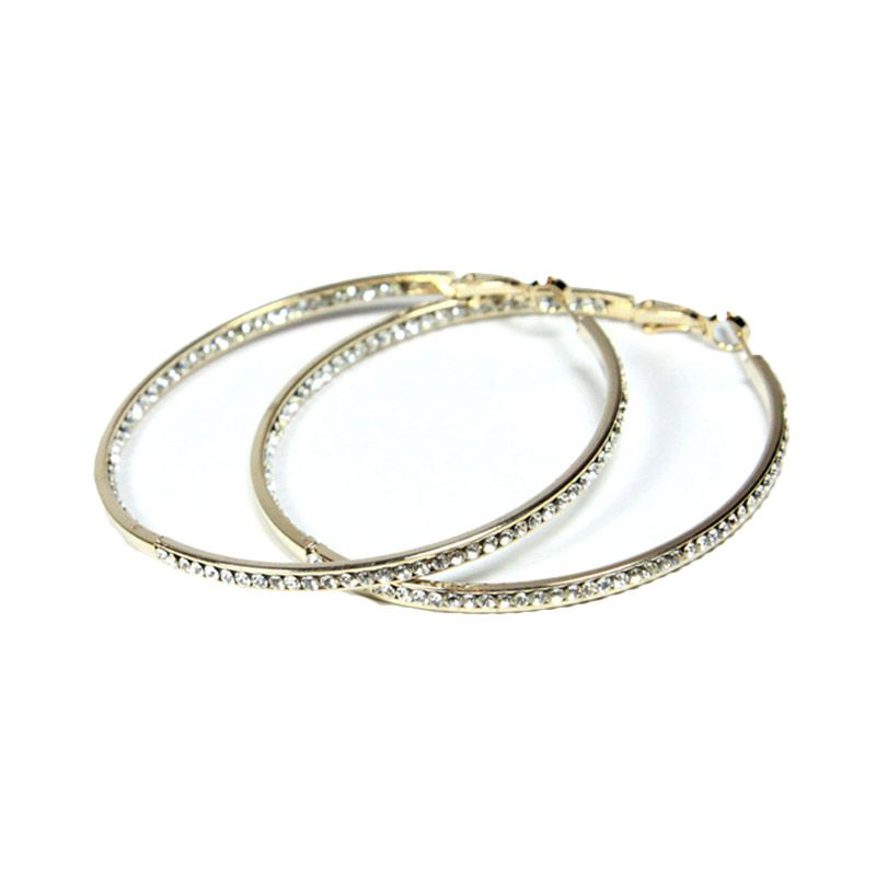 Petite Lola Double Sided Crystal Hoop Earrings Large Gold