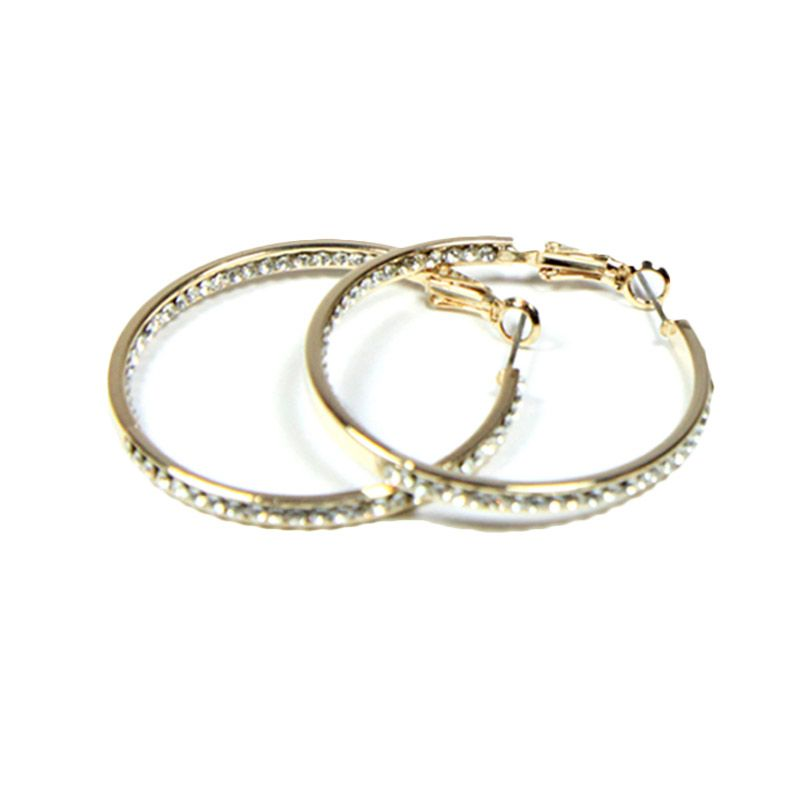 Petite Lola Double Sided Crystal Hoop Earrings Small Gold