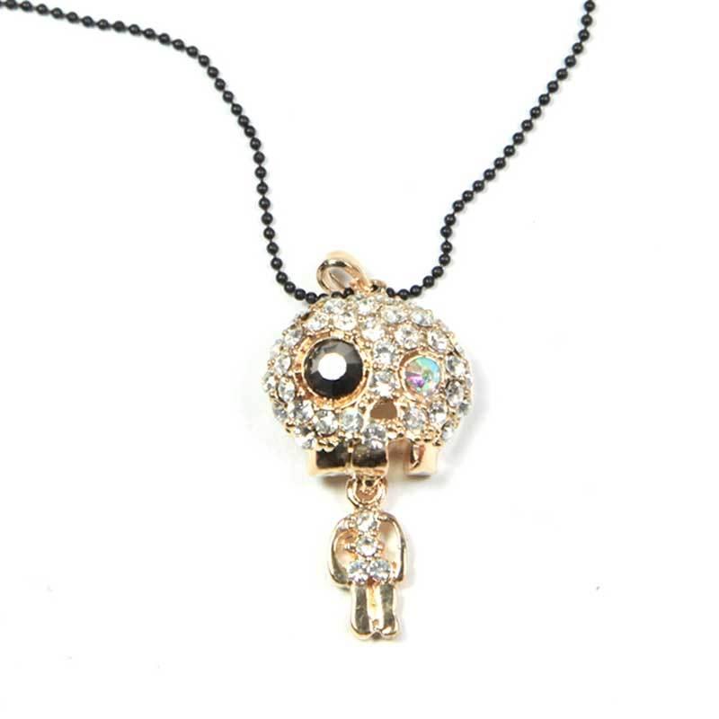 Petite Lola Funny Skull Necklace Crystal