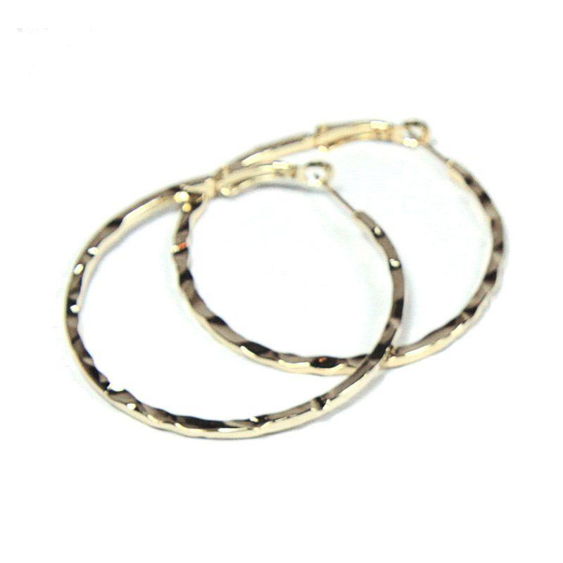 Petite Lola Gold Textured Medium Hoop Earrings