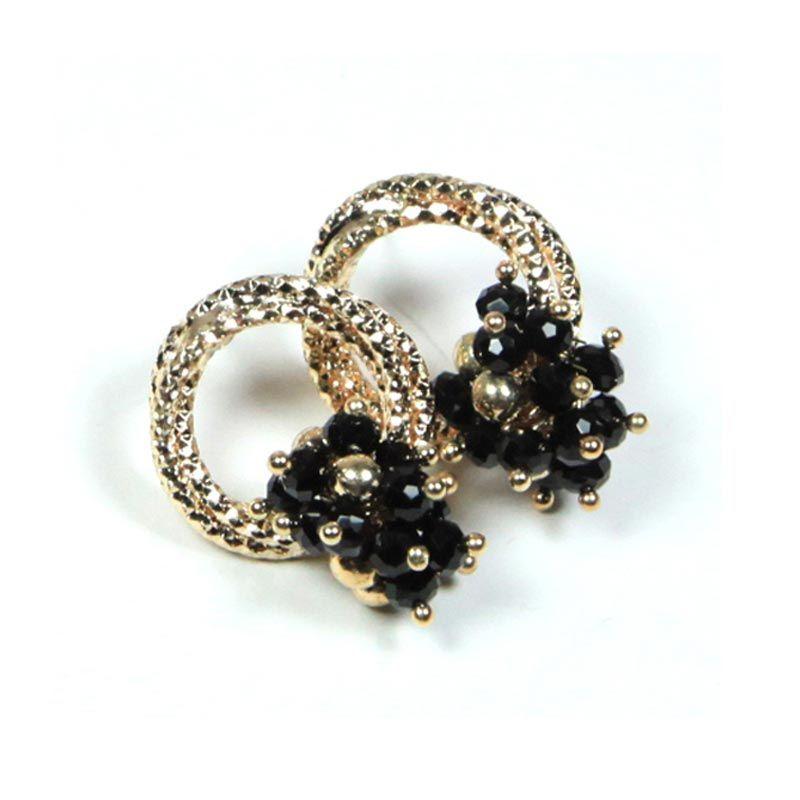 Petite Lola Mini Hoop Black Crystal Flower Earrings