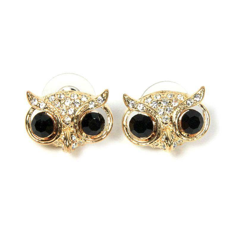 Petite Lola Onyx Owl Stud Earrings