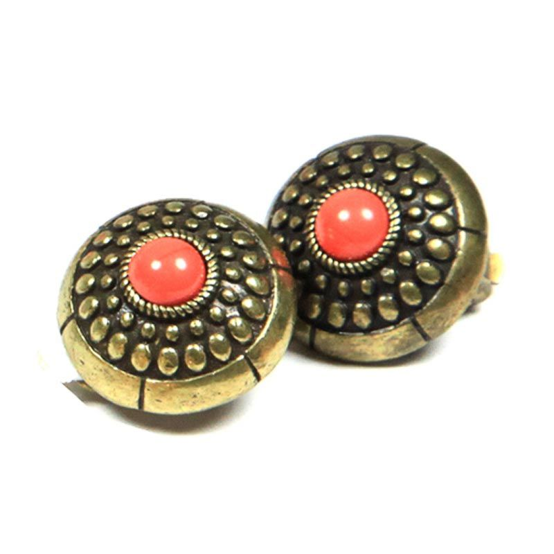 Petite Lola Retro Coral Stud Earrings - Clip on