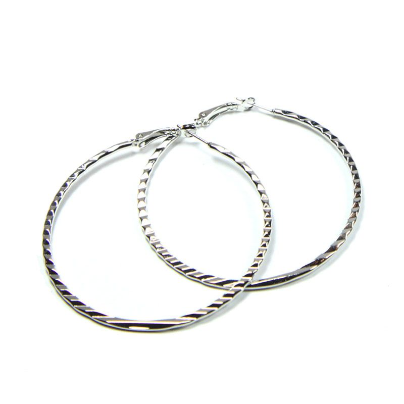 Petite Lola Silver Textured Hoop Earrings