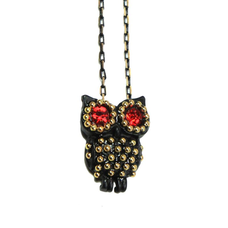 Petite Lola Studded Red Owl Necklace