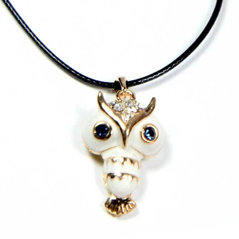 Petite Lola White Owl Enamel Necklace