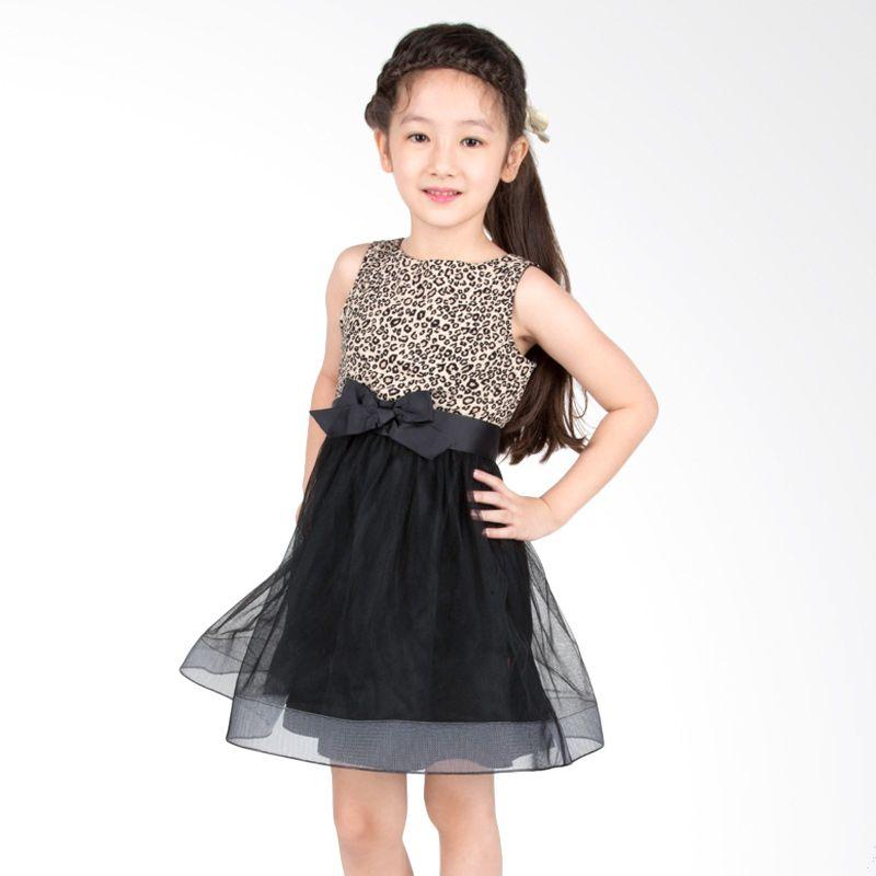 Petite Mon Cherrie Leopard Black Dress Anak