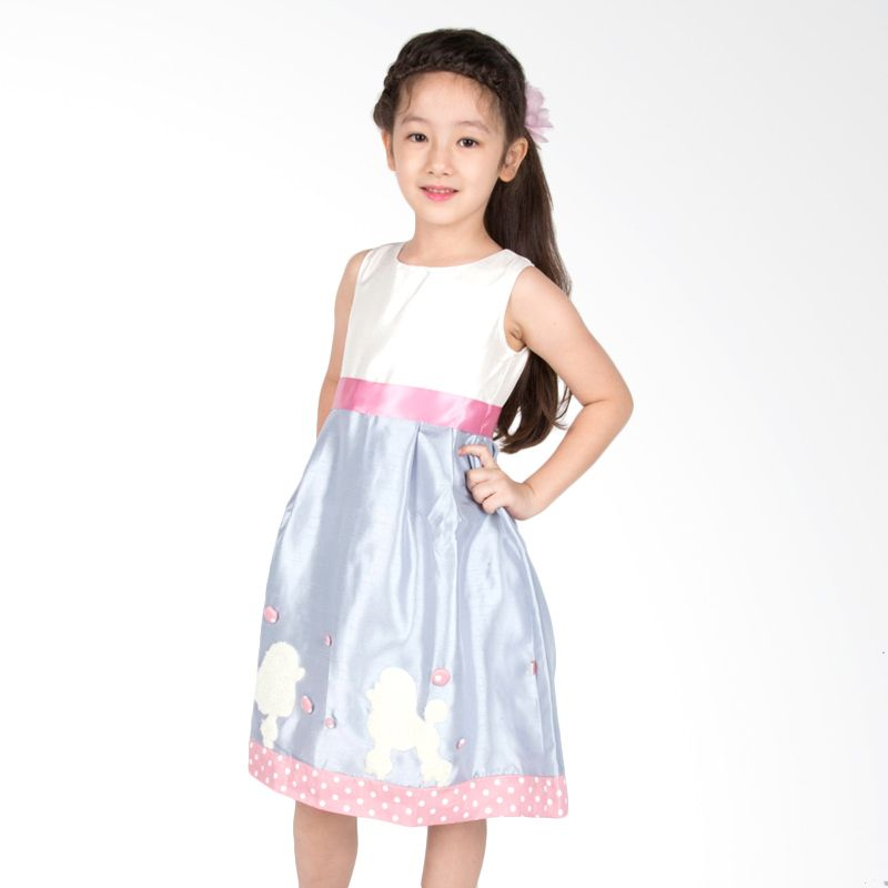 PMC Satin Bordir Doggy Cream Dress Anak