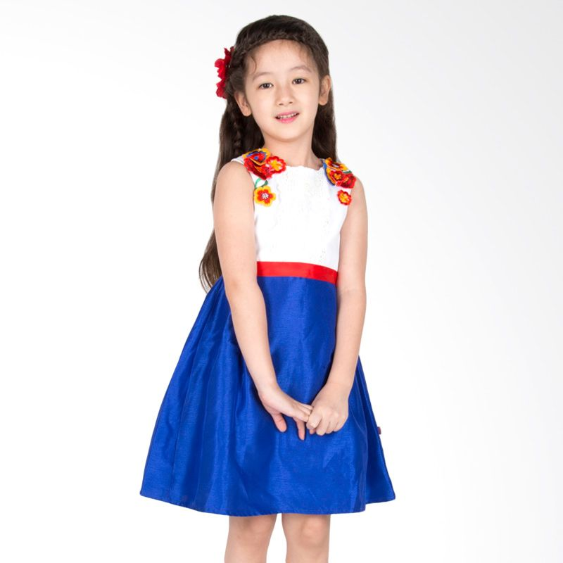 Petite Mon Cherrie White Blue Dress Anak