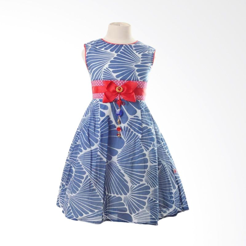 PMC Dress Blue Motif Fuschia Obi