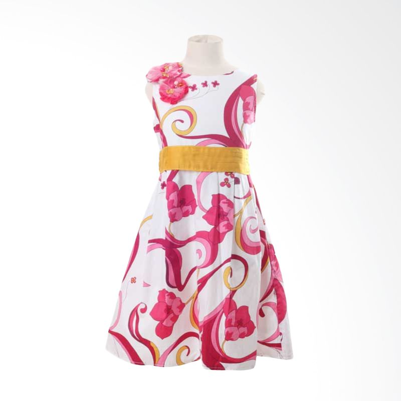 PMC Dress White Motif Fuschia Flower