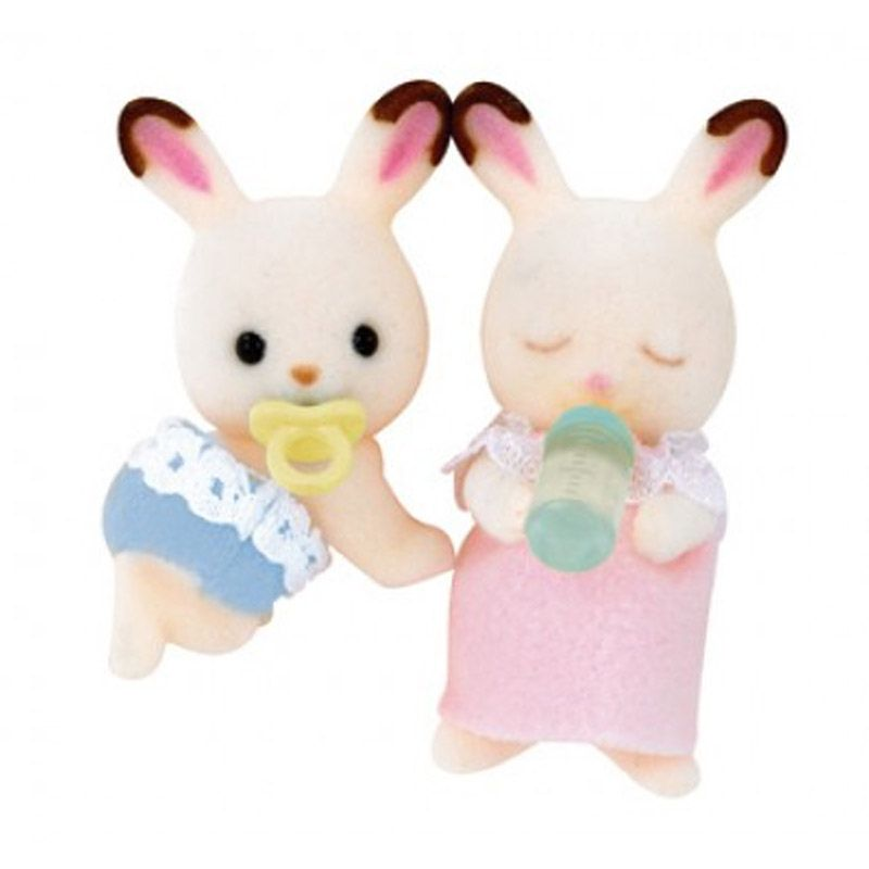 Sylvanian Families Chocolate Rabbit Twins White Mainan Anak
