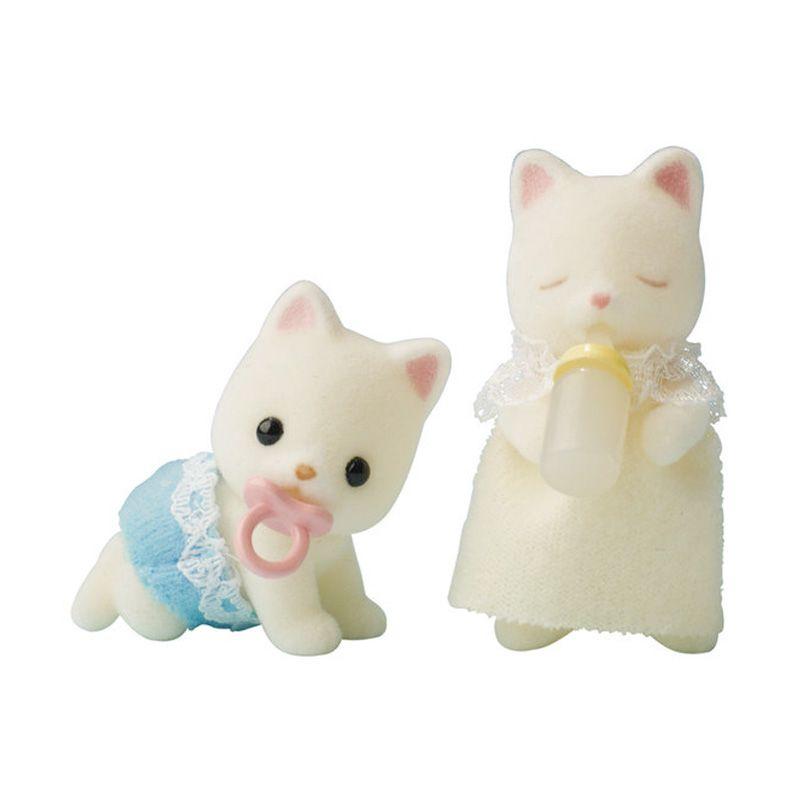 Sylvanian Families Silk Cat Twins White Pink Mainan Anak