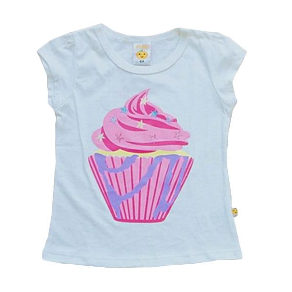 PLEU Blus Cupcake Bintang Atasan Anak Perempuan - White