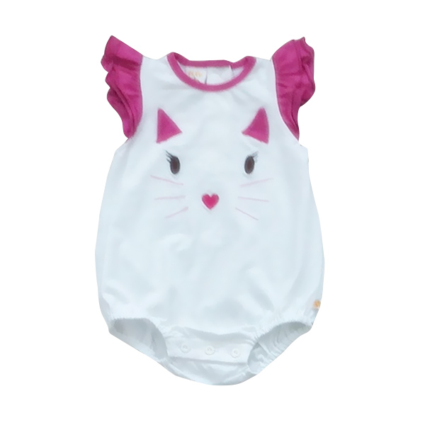 Pleu Kgirl- Muka Kucing Jumpsuit Bayi - Fuschia