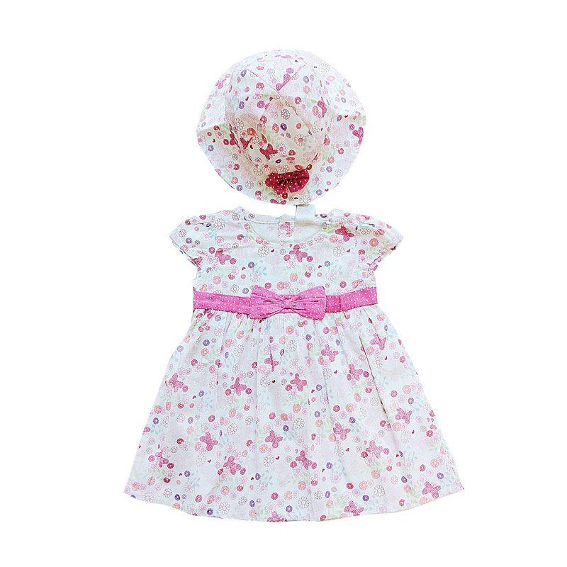 PLEU Topi Bunga Onde Pink Dress Anak