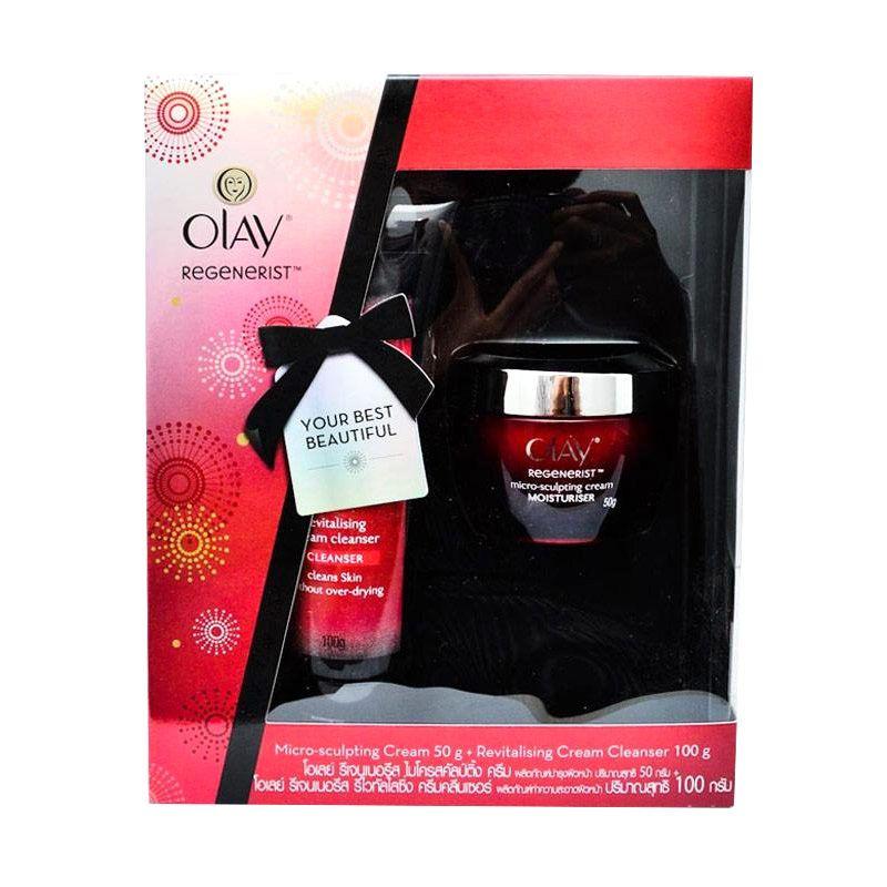 Olay Regenerist Face Cream [50 gr] dan Cleanser [100 mL] Festive Pack