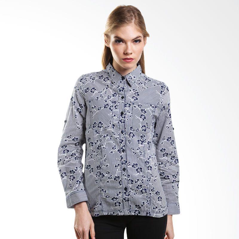 Point One Long Sleeved Shirt With Motif 307581 021.04 Navy Atasan Wanita