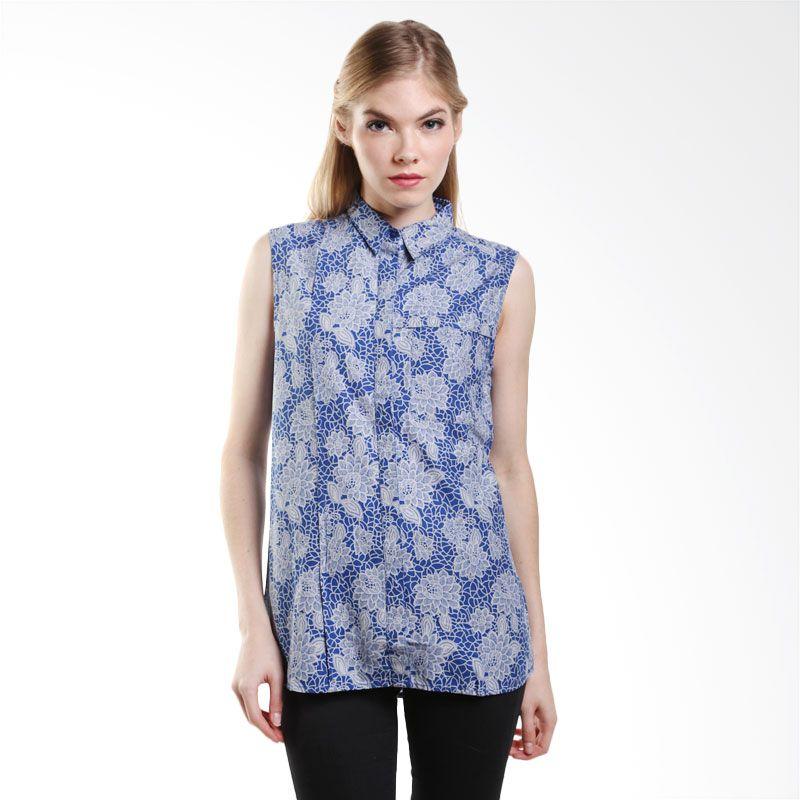Point One Sleeveless Shirt With Batik Motif 307086 007.04 Blue Atasan Wanita