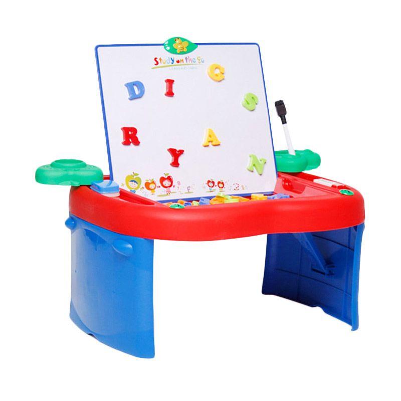 Apple Fold N Go Meja Lipat Anak Multifungsi Biru Merah Mainan Anak