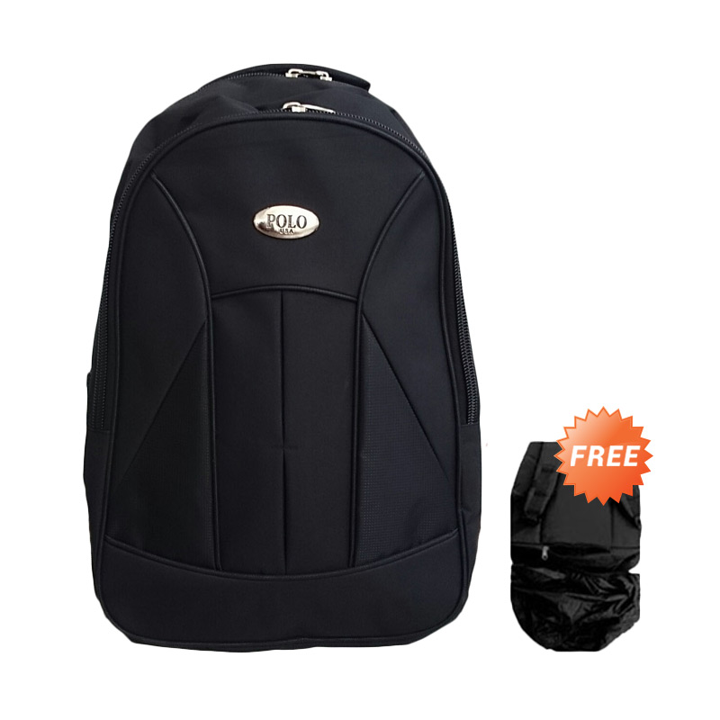 Polo Club Basic Laptop Tas Ransel + Raincover - Black